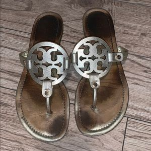 Gold metallic tory burch miller sandal